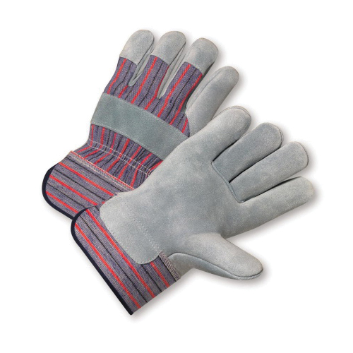 PIP® 558 General Purpose Gloves, Leather Palm/Work, Standard Split Cowhide Leather Palm, Cotton/Standard Split Cowhide Leather, Blue/Red, Rubberized Safety Cuff, Fleece Lining, Full Finger/Wing Thumb