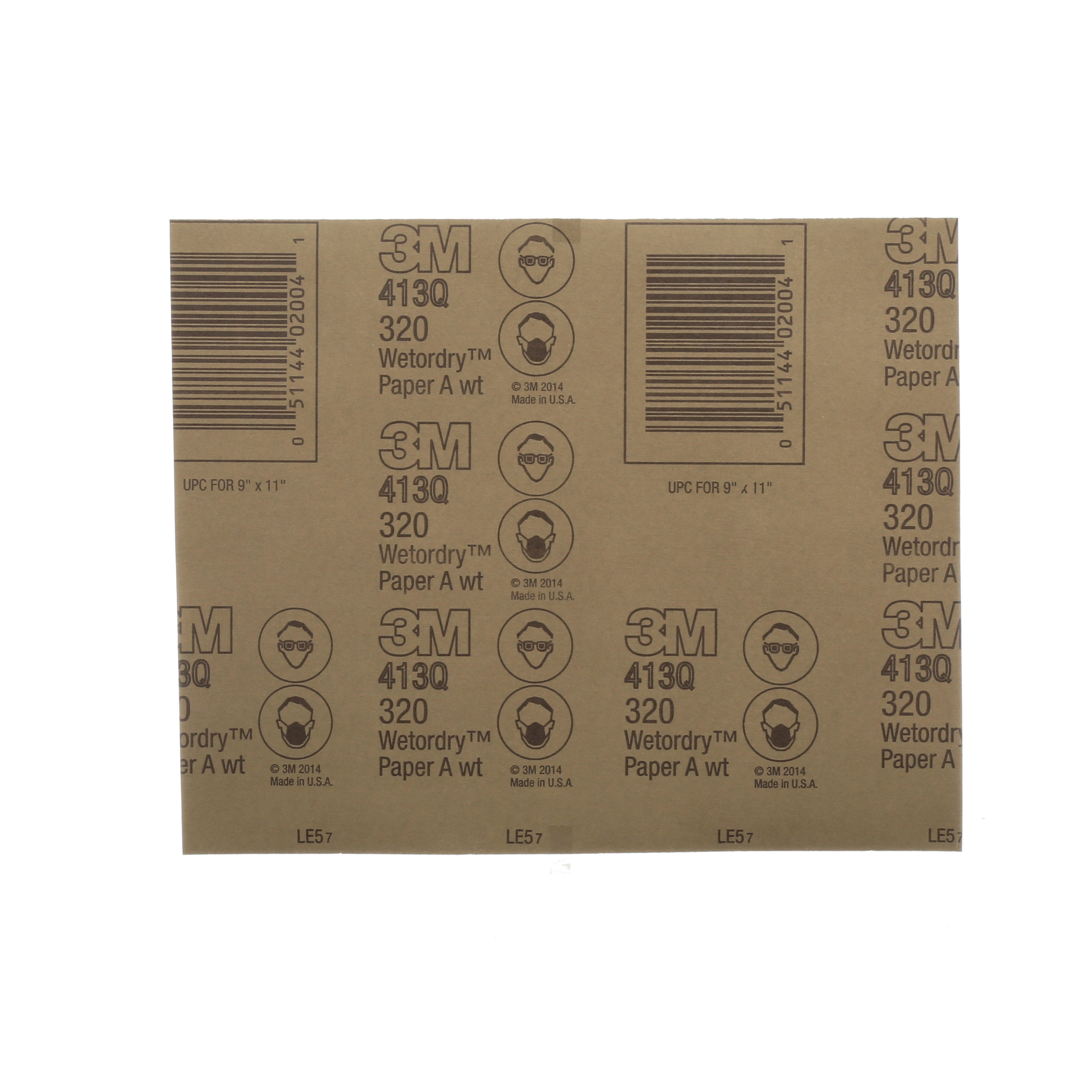3M™ Wetordry™ 051144-10713 Coated Abrasive Sheet, 9 in L x 3-2/3 in W, 400 Grit, Super Fine Grade, Silicon Carbide Abrasive, Paper Backing
