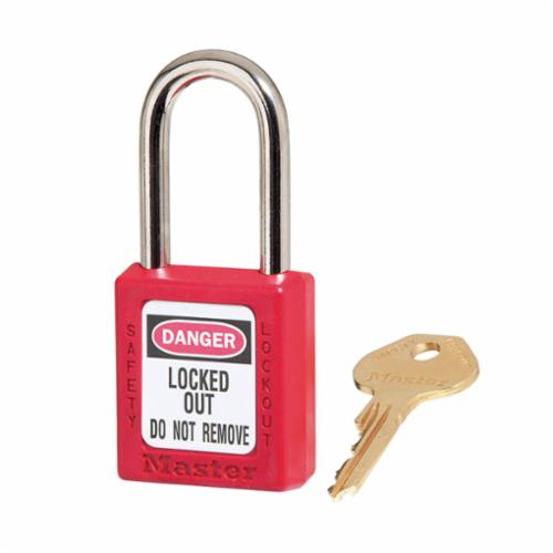 Master Lock® 410RED Zenex™ 410 Lockout Padlock, Different Key, Red, Thermoplastic Body, 1/4 in Dia x 1-1/2 in H x 25/32 in W Steel Shackle, 1-3/4 in L Body