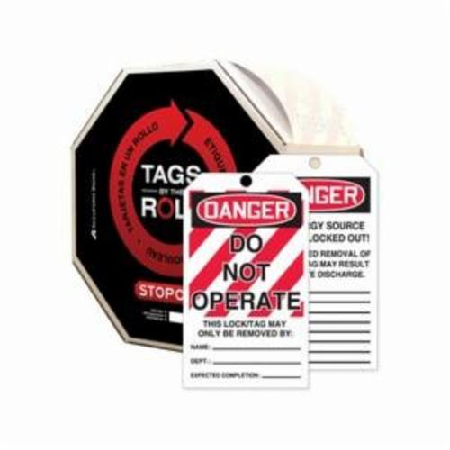Accuform® TAR114 Tags By-The-Roll™ Danger Tag, 6-1/4 in H x 3 in W, Black/Red on White, 3/8 in Hole, Cardstock