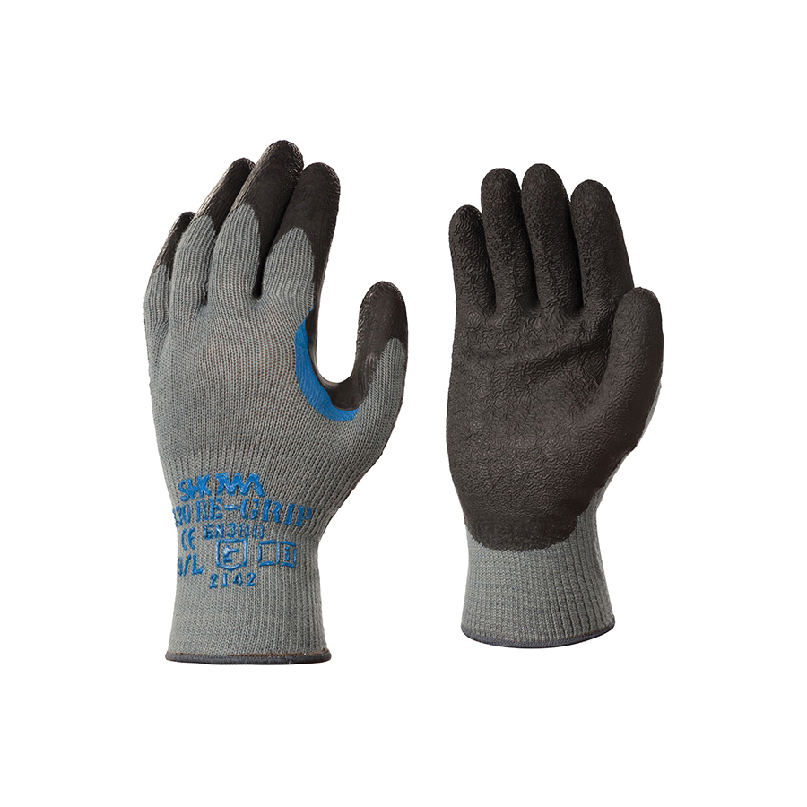 Atlas® by Showa Best 330L-09 Ergonomic General Purpose Gloves, Coated, Reinforced Thumb Style, L/SZ 9, Natural Rubber Latex Palm, Cotton/Polyester, Black/Gray, Elastic/Knit Wrist Cuff, Natural Rubber Latex Coating, Resists: Abrasion, Cut, Puncture and Tear