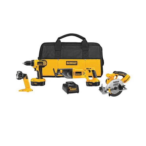 DeWALT® DC4CKITA 4-Tool Compact Cordless Combination Kit, Tools: Circular Saw, Drill, Reciprocating Saw, 18 VDC, Lithium-Ion Battery, 1/2 in Chuck, 0 to 500/0 to 1700 rpm