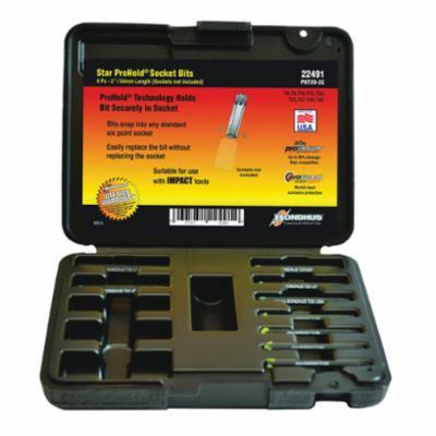 Bondhus® 22491 ProHold® Socket Bit Set, T8 to T40 Torx, 9 Pieces, ProGuard™