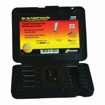 Bondhus® 23290 ProHold® Combination Socket Bit Set, 12 to 19 mm Hex, T45 to T55 Torx, 7 Pieces, ProGuard™