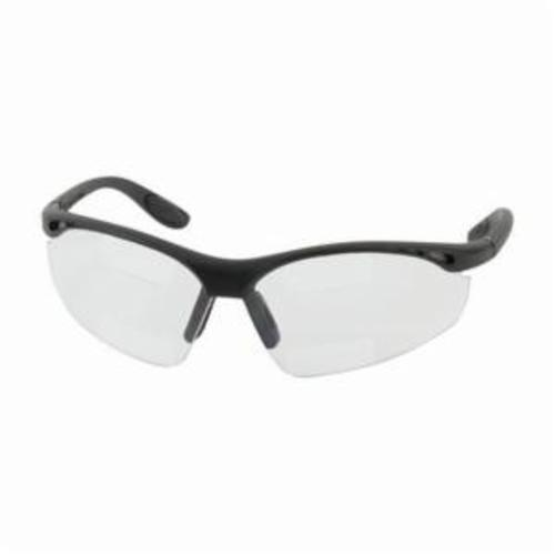 Bouton® 250-25-1515 Double Mag Readers™ 250-25 Dual Safety Reading Eyewear, +1.5 Diopter, Clear Lens, Black, Nylon Frame, Polycarbonate Lens, 99.9% UVA/UVB UV Protection, ANSI Z87.1+/Z87.1-2015