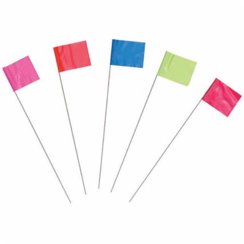 C.H.Hanson® 15080 Wire Staff Marking Flag, 2-1/2 in H x 3-1/2 in W, 21 in OAL, Red, PVC