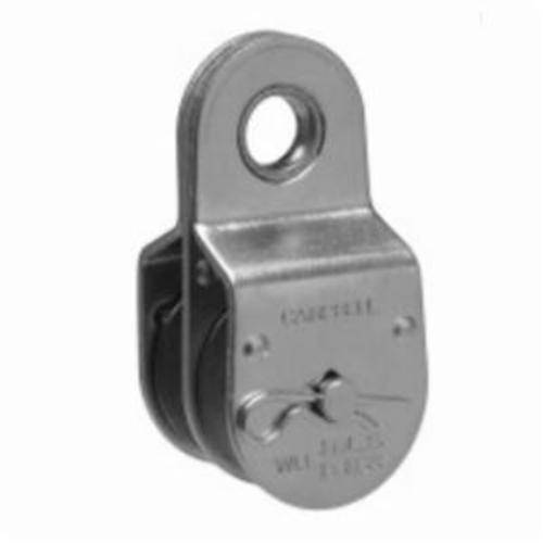 Campbell® T7550421 Double Sheave Heavy Duty Fixed Eye Pulley, 1-1/2 in, 400 lb, Die Cast Zinc Sheave/Steel Body, Zinc Plated