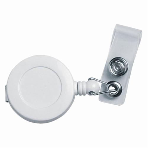 Crews BD-4 Retractable Belt Clip Style Badge Holder With Snap, Plastic, White/Clear