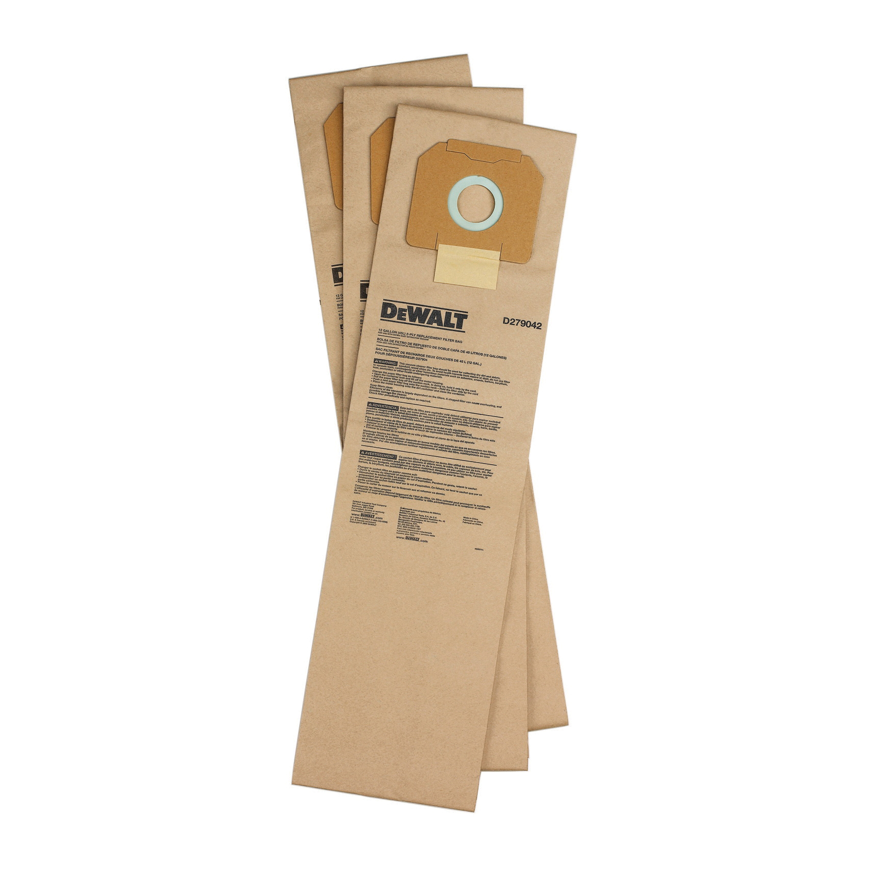 DeWALT® D279042 Non-Reusable Filter Bag, 8 in L, Paper, Brown, For Use With D27904 12 gal Dust Extractor