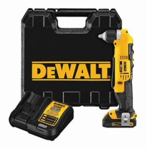 DeWALT® DCD740C1 Compact Right Angle Drill/Driver Kit, 3/8 in Keyed Chuck, 20 VAC, 360 in-lb Torque, 0 to 650 rpm, 0 to 2000 rpm No-Load, 4 in OAL, Lithium-Ion Battery
