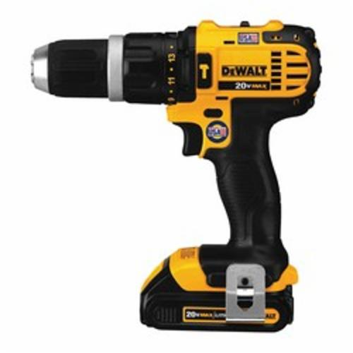 DeWALT® DCD785C2 Compact Cordless Hammer Drill/Driver Kit, 1/2 in Metal Ratcheting Chuck, 20 VDC, 0 to 600/0 to 2000 rpm No-Load, Lithium-Ion Battery