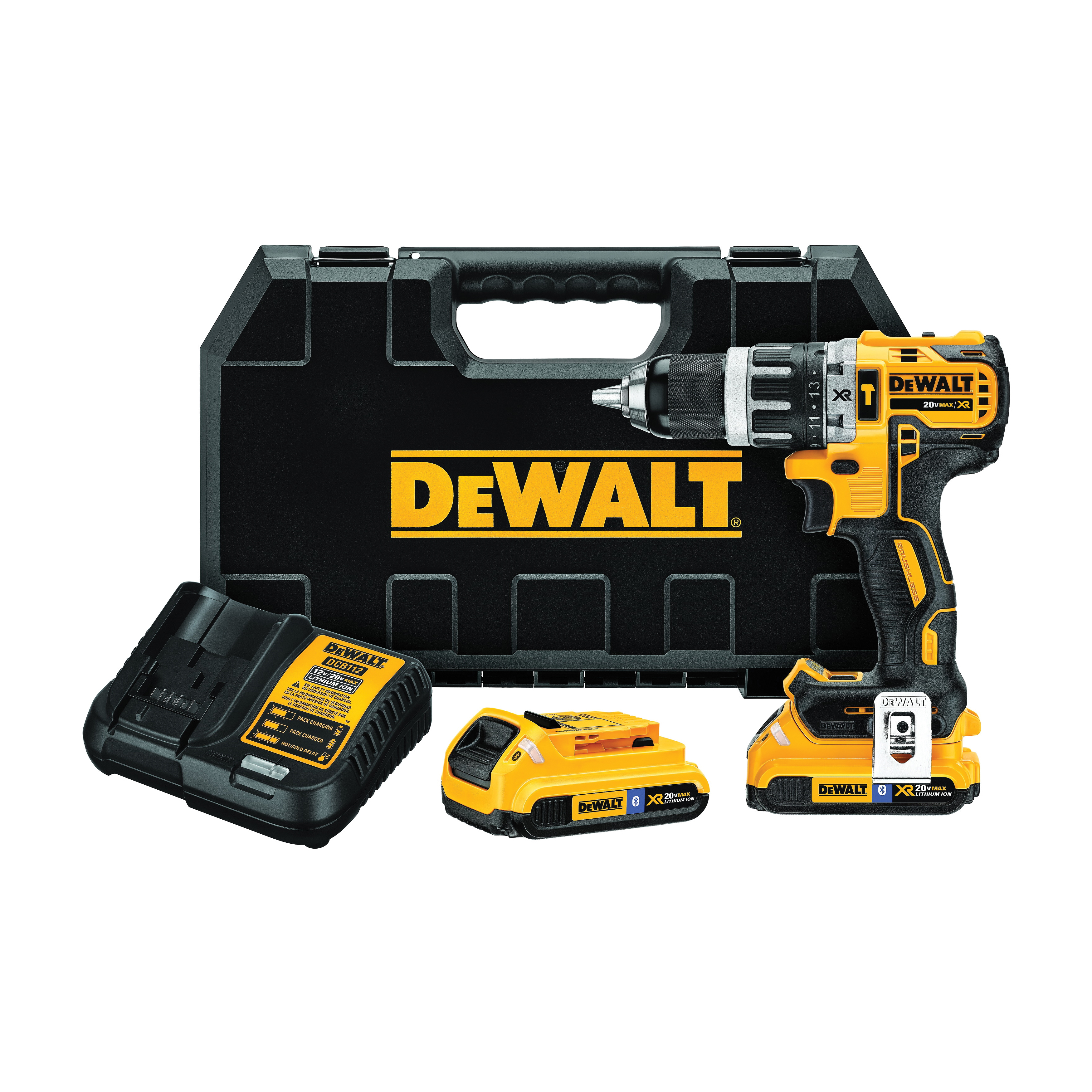 DeWALT® 20V MAX* DCD796D2BT XR™ Compact Lightweight Cordless Hammer Drill Kit, 1/2 in Keyless/Metal Ratcheting Chuck, 20 VDC, 2000 rpm No-Load, Lithium-Ion Battery