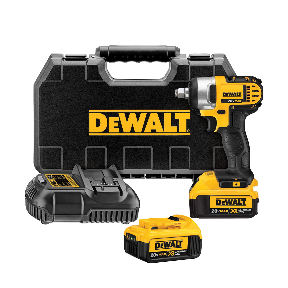 DeWALT® 20V MAX* MATRIX™ DCF880HM2 Compact Lightweight Cordless Impact Wrench Kit With Hog Ring Anvil, 1/2 in Square Drive, 1800 in-lb Torque, 20 VDC, 5-3/4 in OAL