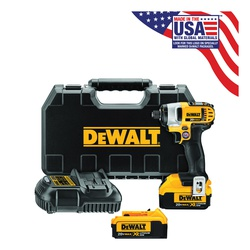 DeWALT® DCF885M2 Compact Cordless Impact Driver Kit, 1/4 in Hex Drive, 0 to 3200 bpm, 1400 in-lb Torque, 20 VAC, 5.55 in OAL