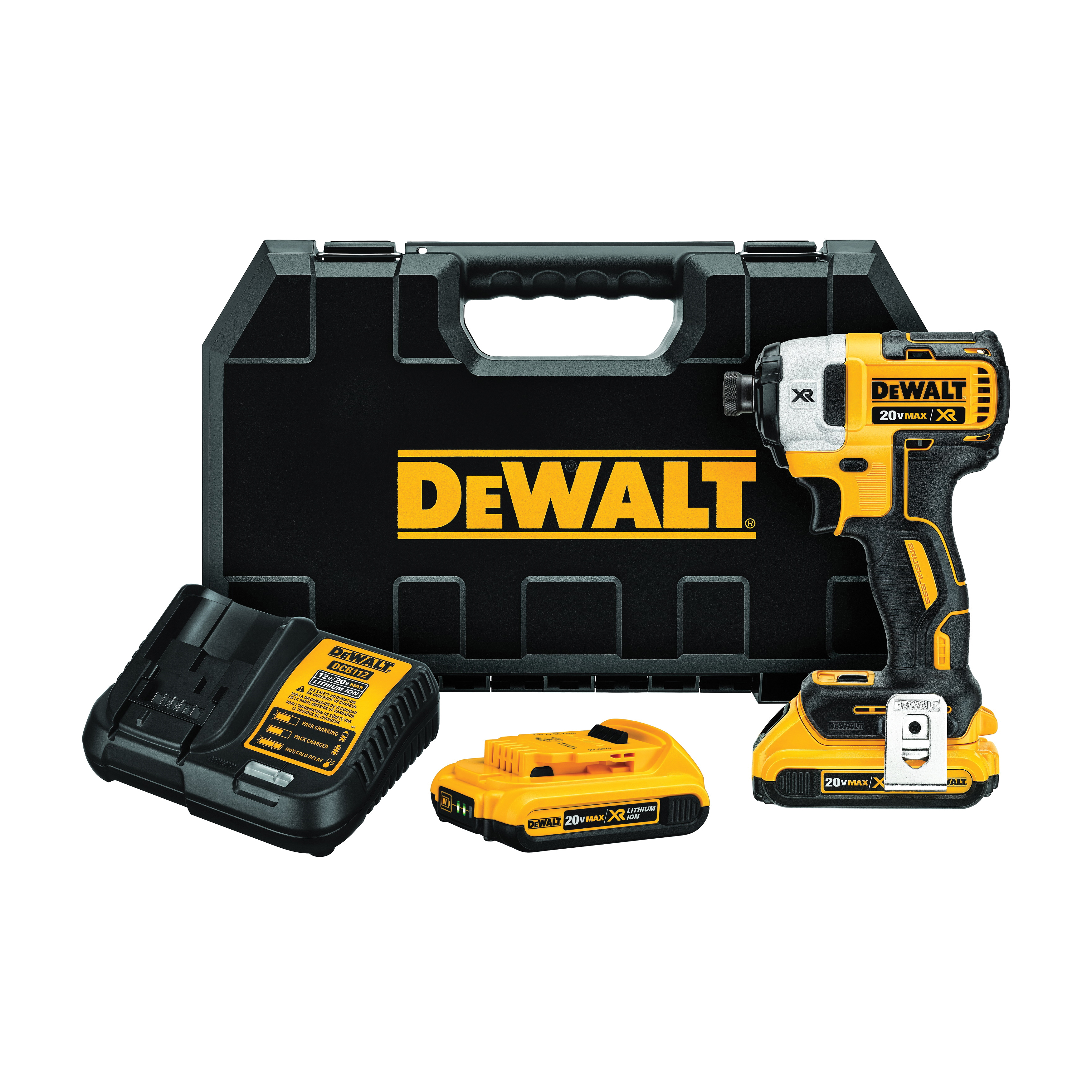 DeWALT® 20V MAX* MATRIX™ XR™ DCF887D2 Compact Lightweight Cordless Impact Driver Kit, 1/4 in Quick-Release Drive, 3600 ipm, 1825 in-lb Torque, 20 V, 5.3 in OAL