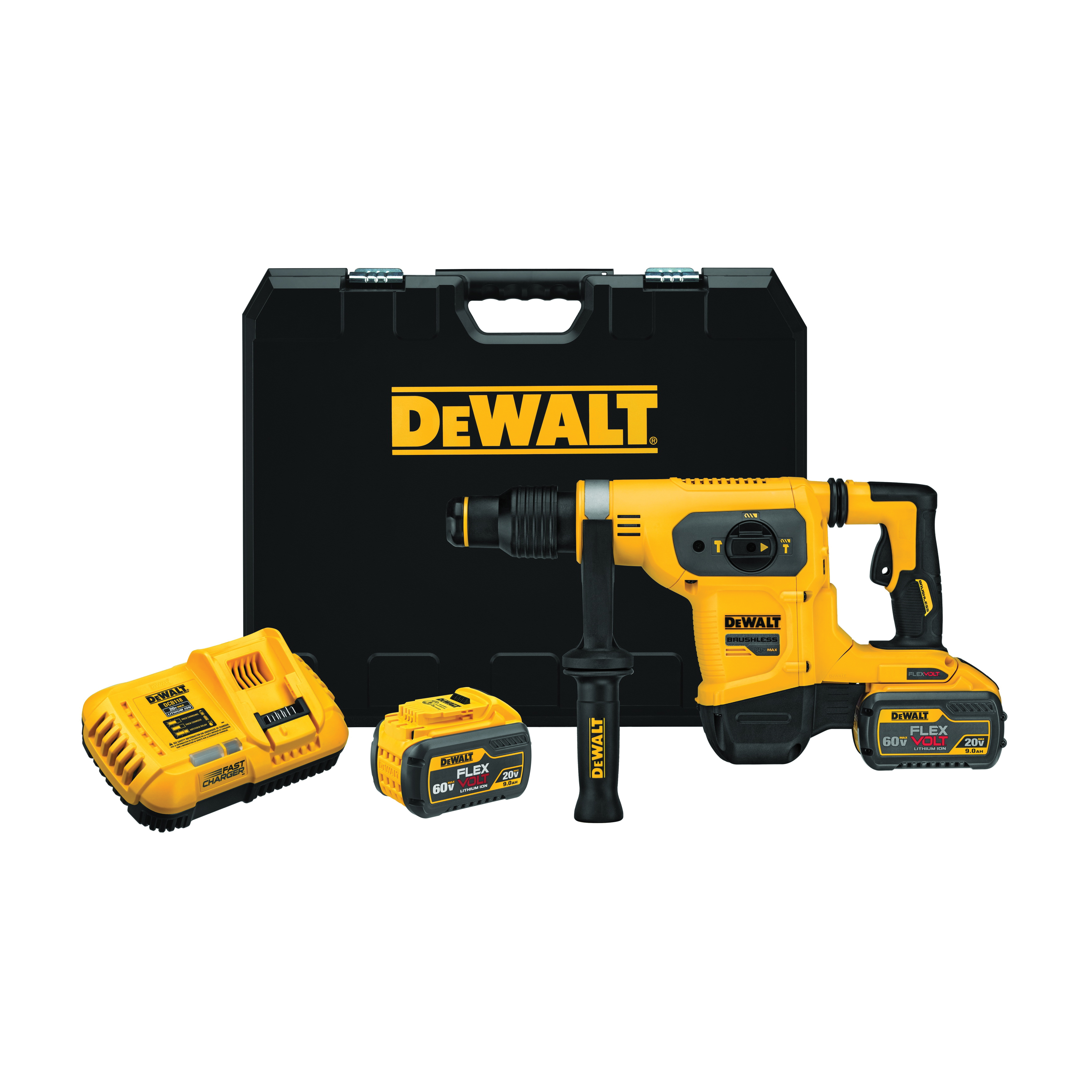 DeWALT® 60V MAX* FLEXVOLT™ DCH481X2 Cordless Combination Hammer Drill, 1 in SDS Max® Chuck, 60 V, 540 rpm No-Load, Lithium-Ion Battery