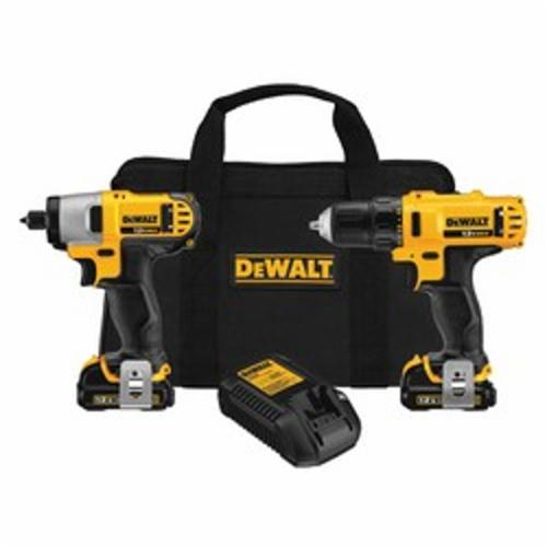 DeWALT® DCK211S2 Compact Cordless Drill/Driver/Impact Driver Combo Kit, Tools: Drill, Impact Driver, 12 VDC, 1.5 Ah Lithium-Ion Battery, 0 to 400/0 to 1500 rpm Speed