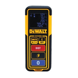 DeWALT® Tool Connect™ DW099S Bluetooth Laser Distance Measurer, Plastic, 100 ft Measuring, 3/32 in Accuracy, LCD Display, AAA Battery