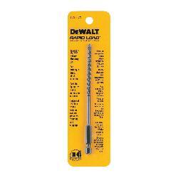 DeWALT® DW2573 Rapid Load® Masonry Drill Bit, 3/16 in Drill Bit, 1/4 in Hex/Straight Shank, 3 in D Cutting, Carbide Cutting Edge