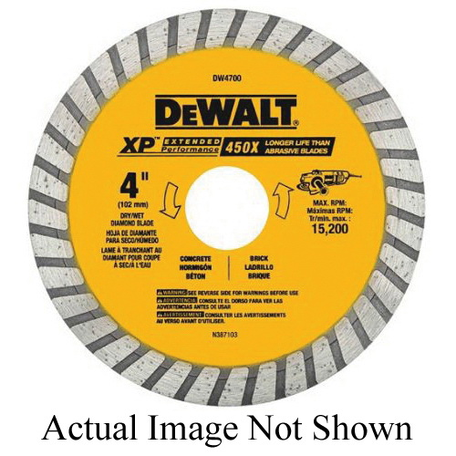 DeWALT® DW4702B Extended Performance Extended Performance Turbo Diamond Blade, 7 in Dia Blade, 5/8, 7/8 in Arbor/Shank, Dry Cutting