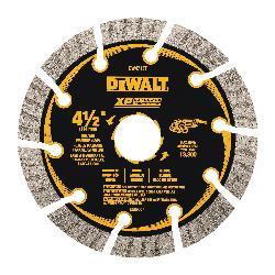 DeWALT® DW4713T HP™ Turbo Segmented Rim Diamond Saw Blade, 4-1/2 in Dia Blade, 1-1/4 in D Cutting, 7/8 in Arbor/Shank, Fast Cutting Cutting