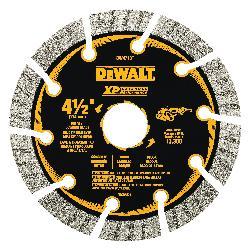 DeWALT® DW4713TB HP™ Turbo Segmented Rim Diamond Saw Blade, 4-1/2 in Dia Blade, 7/8 in Arbor/Shank, Fast Cutting Cutting