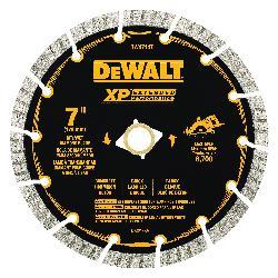 DeWALT® DW4714TB HP™ Turbo Segmented Rim Diamond Saw Blade, 7 in Dia Blade, 2-1/4 in D Cutting, 7/8 in Arbor/Shank, Fast Cutting Cutting