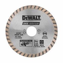 DeWALT® DW4725B High Performance Thin Kerf Turbo Rim Diamond Saw Blade, 4-1/2 in Dia Blade, 7/8 in Arbor/Shank, Dry Cutting
