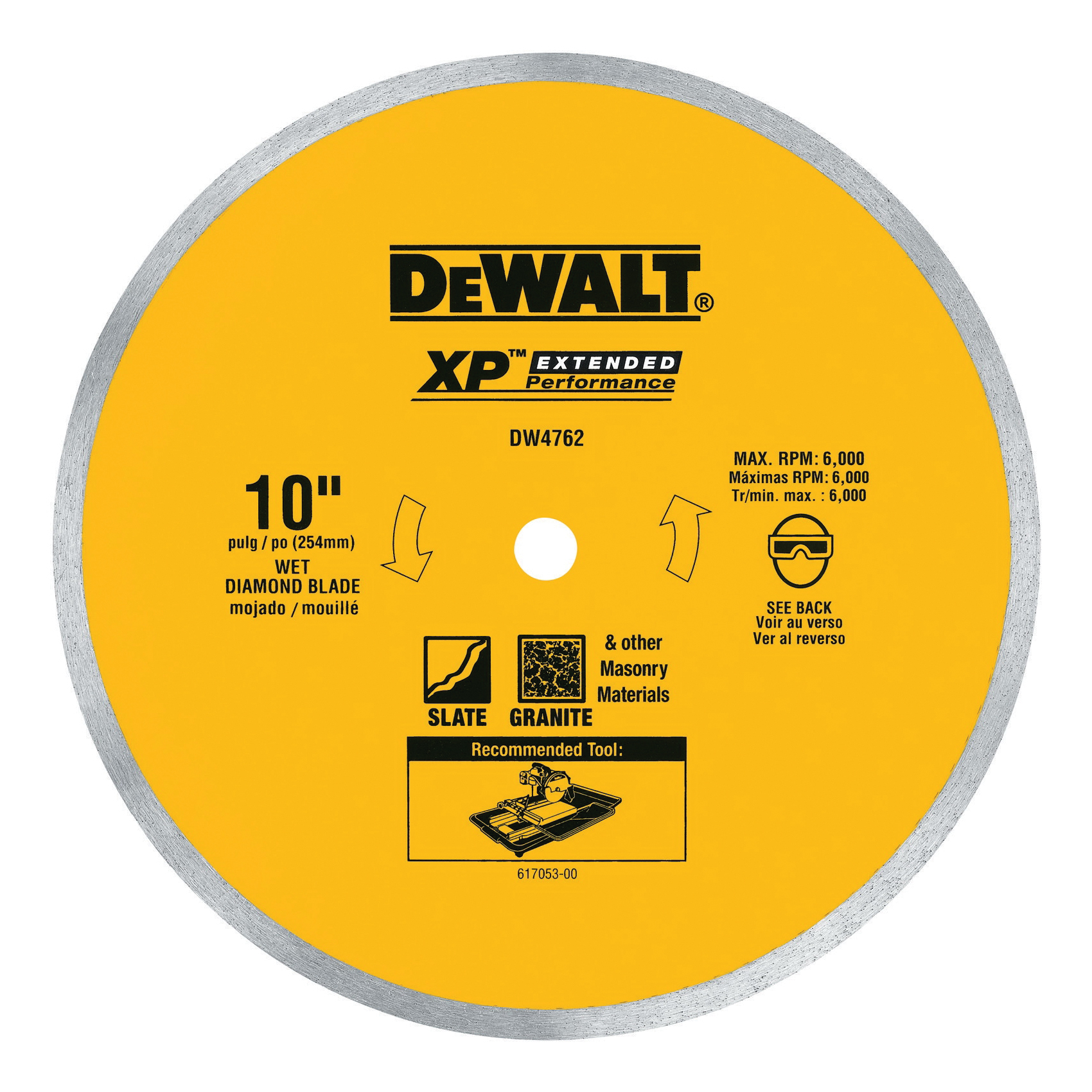 DeWALT® DW4761 Continuous Rim Extended Performance Diamond Saw Blade, 10 in Dia Blade, 4 in D Cutting, 5/8 in Arbor/Shank, Wet Cutting