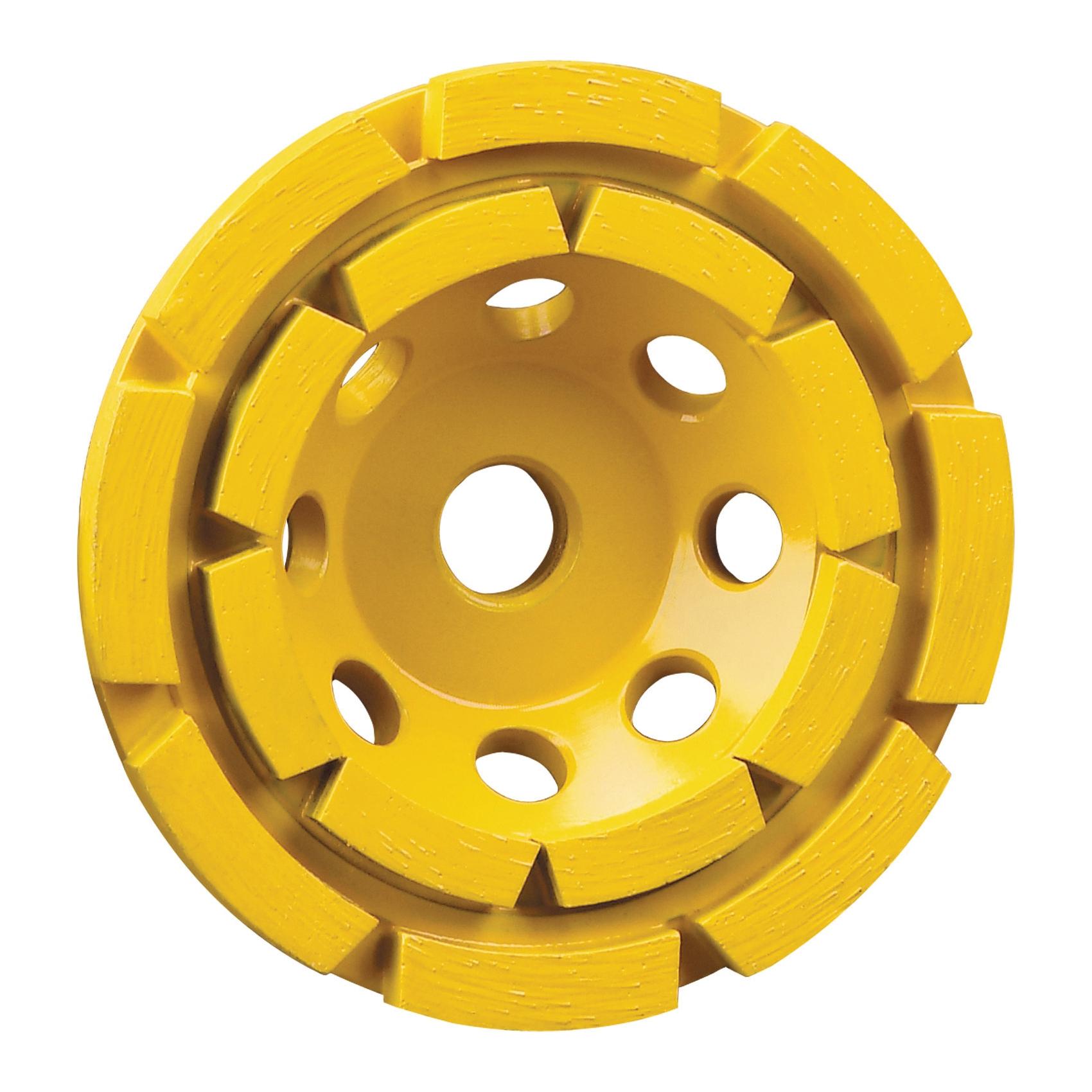 DeWALT® XP™ DW4774 Double Row General Purpose Heavy Duty Cup Wheel, 4-1/2 in Dia x 1 in THK, Diamond Abrasive