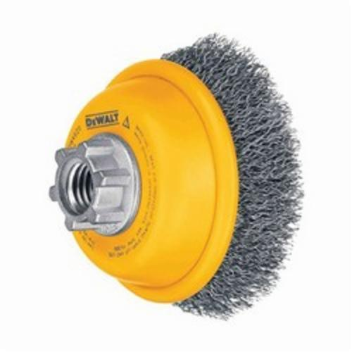 DeWALT® HP™ DW49101 Cup Brush, 4 in Dia Brush, 5/8-11 Arbor Hole, 0.014 in Dia Filament/Wire, Crimped, Carbon Steel Fill