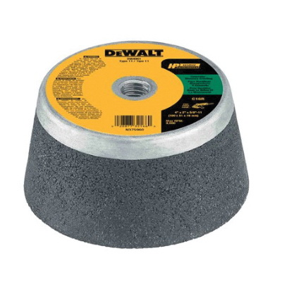 DeWALT® HP™ DW4961 Flaring Cup Wheel, 4 in Dia x 2 in THK, 16 Grit, Silicon Oxide Abrasive