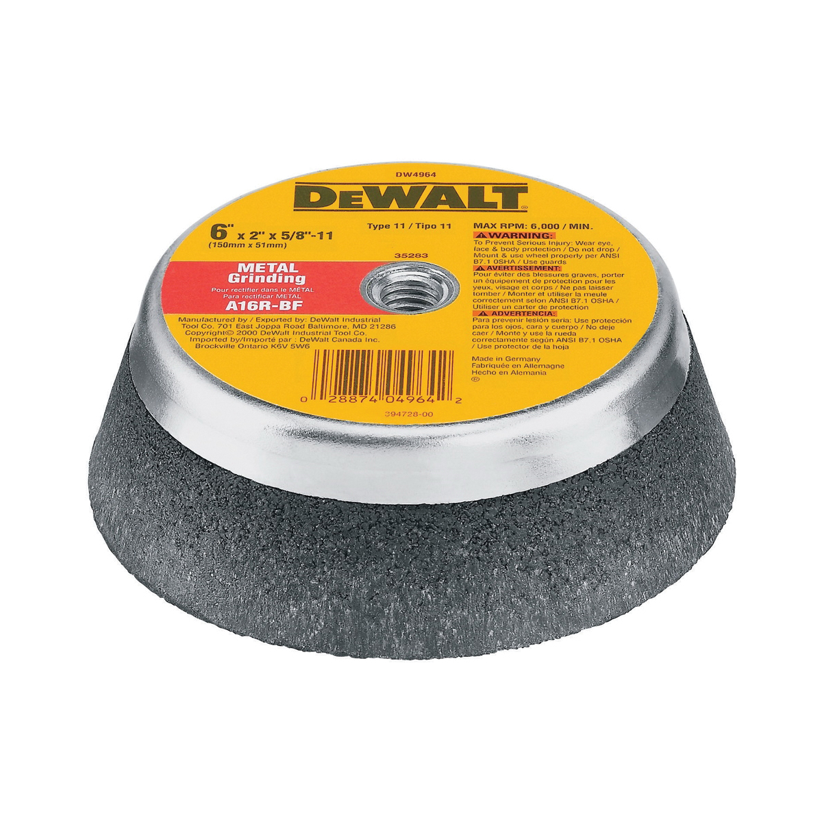 DeWALT® HP™ DW4962 Cup Wheel, 5 in Dia x 2 in THK, 16 Grit, Aluminum Oxide Abrasive