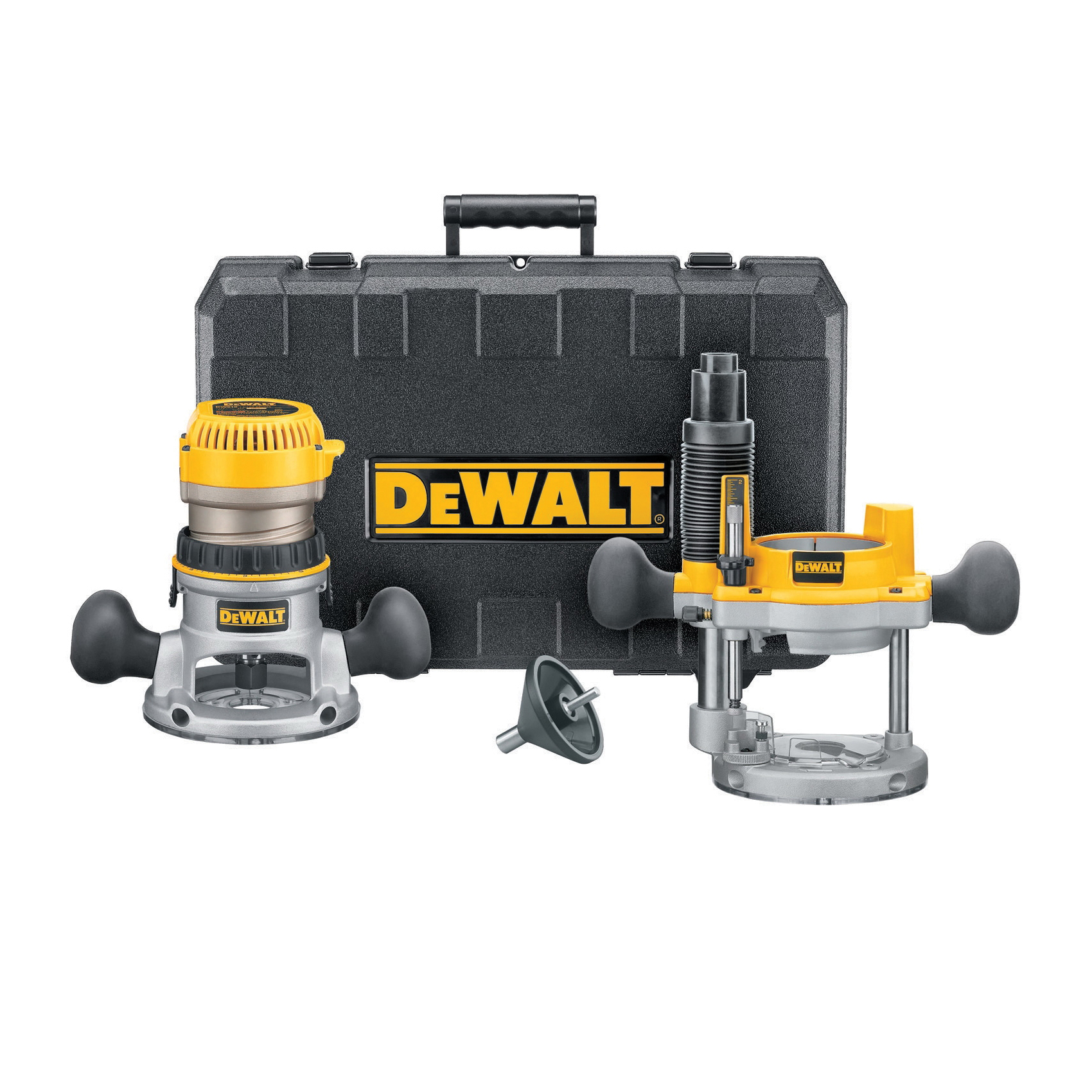 DeWALT® DW616PK Mid Size Fixed Base/Plunge Router Combo Kit, 1/4 in, 1/2 in Chuck, 24500 rpm, 1.75 hp, 120 VAC, Toggle Switch