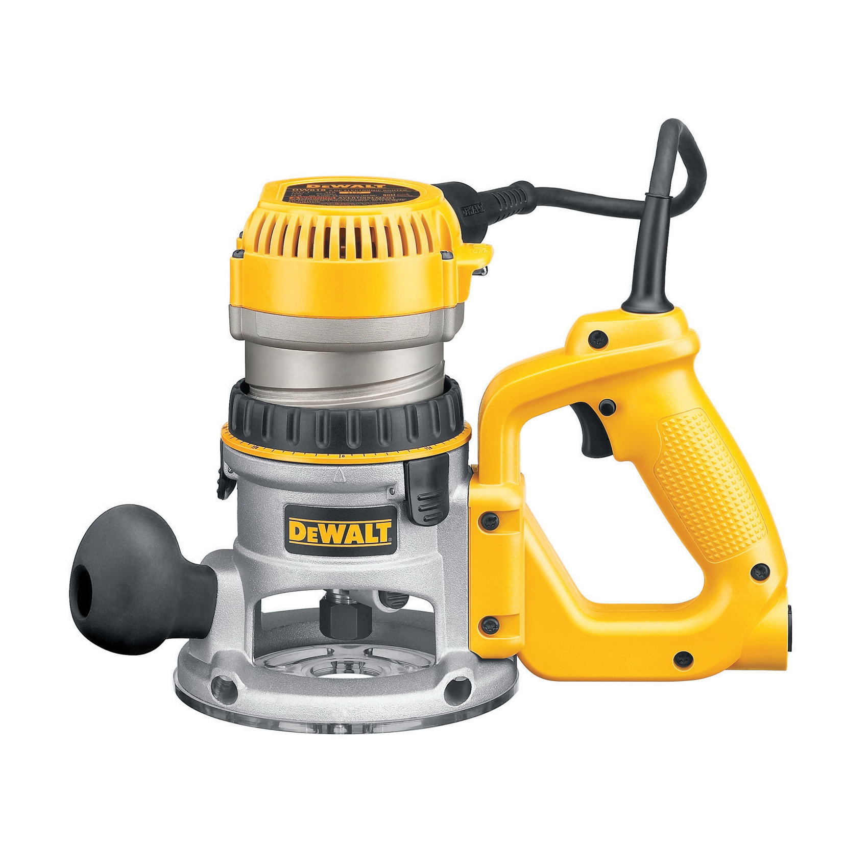 DeWALT® DW618D EVS Mid Size Soft Start D-Handle Router Kit, 1/4 in, 1/2 in Chuck, 8000 to 24000 rpm, 2.25 hp, 120 VAC, Toggle Switch