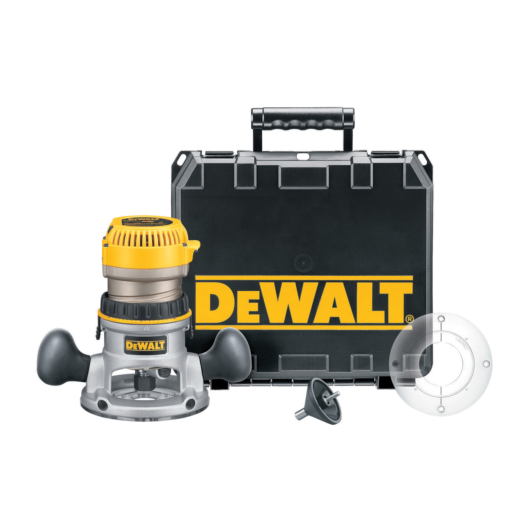 DeWALT® DW618K EVS Mid Size Soft Start Fixed Base Router Kit, 1/4 in, 1/2 in Chuck, 8000 to 24000 rpm, 2.25 hp, 120 VAC, Toggle Switch