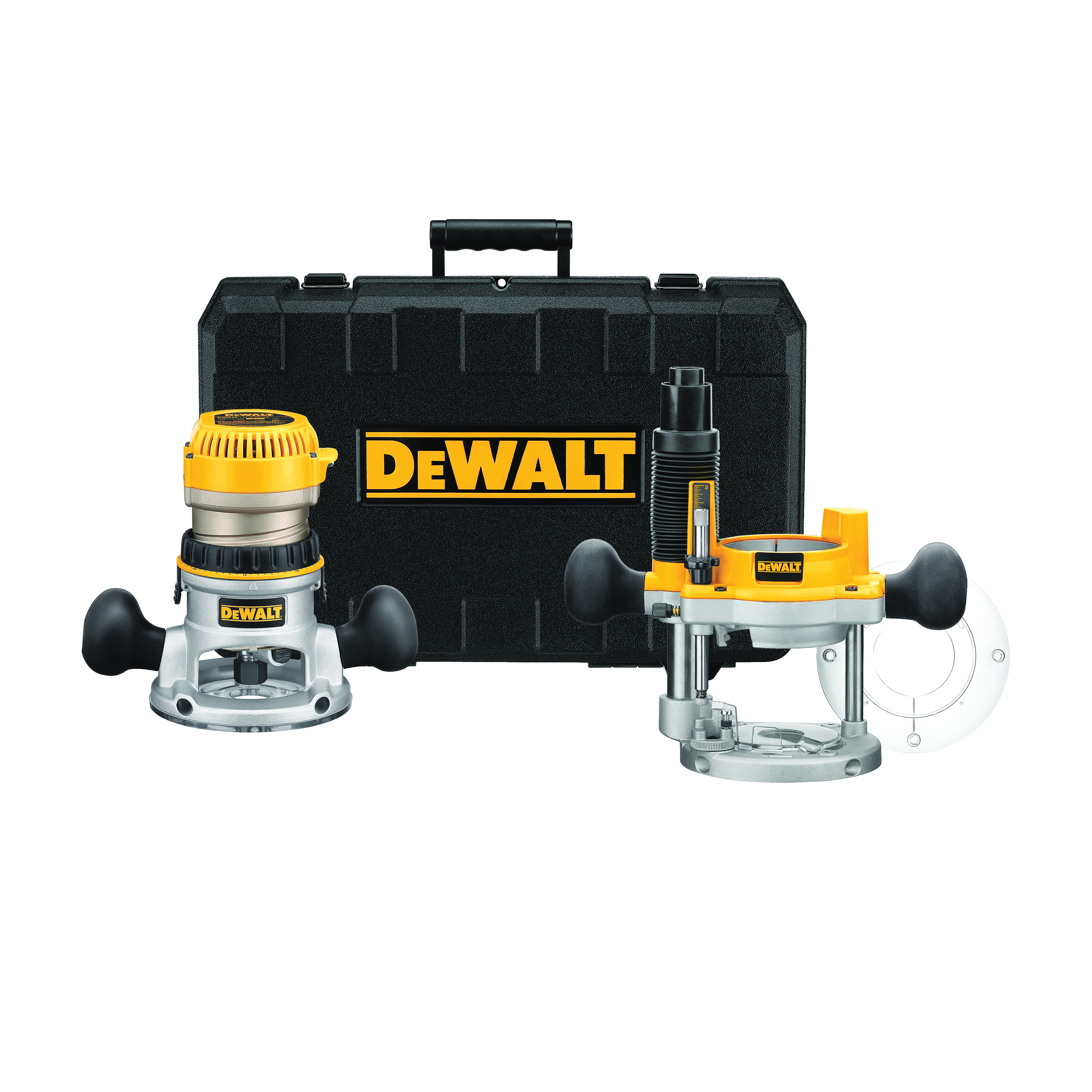 DeWALT® DW618PK EVS Mid Size Soft Start Fixed Base/Plunge Router Combo Kit, 1/4 in, 1/2 in Chuck, 8000 to 24000 rpm, 2.25 hp, 120 VAC, Toggle Switch