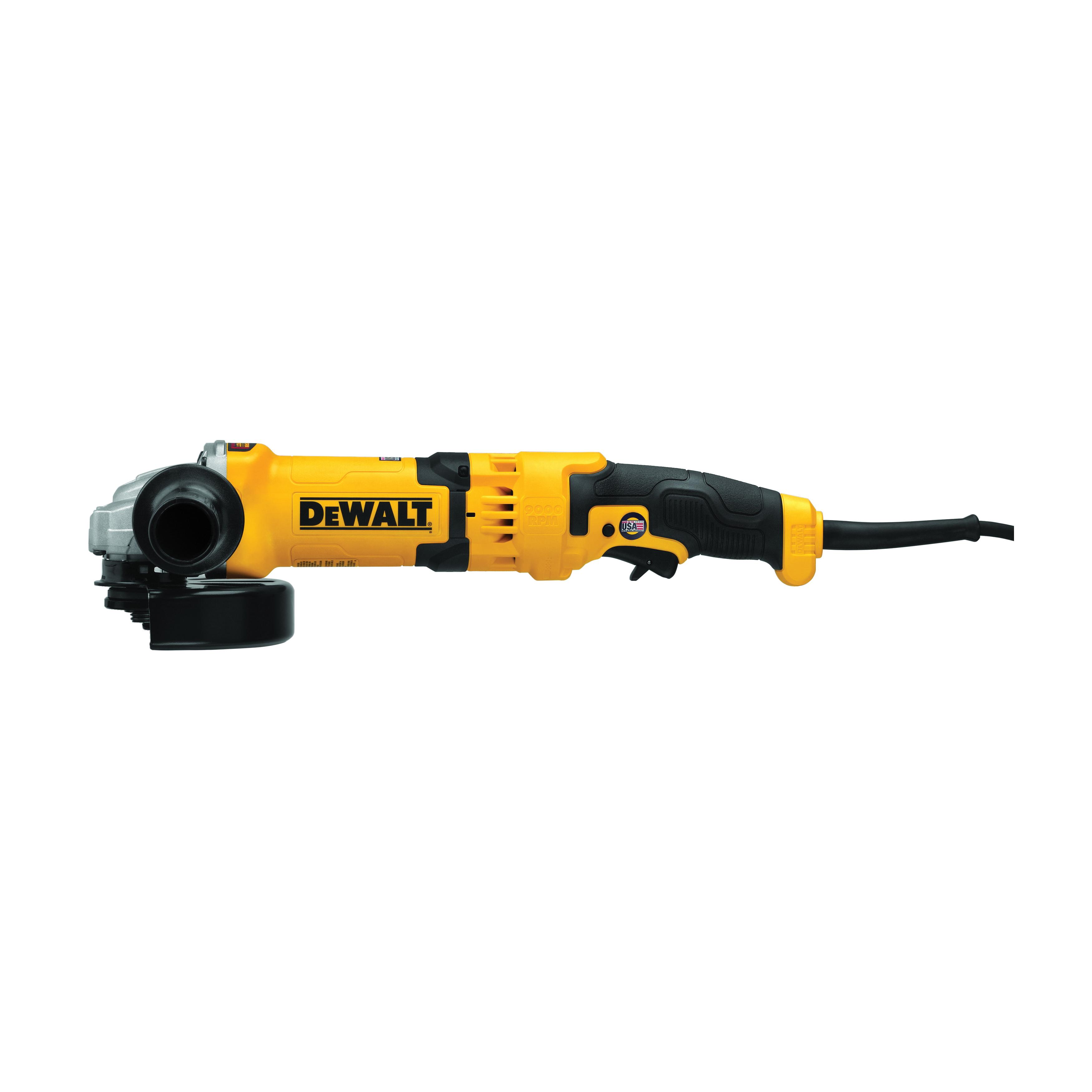 DeWALT® DWE43066 Heavy Duty High Performance Small Angle Grinder, 6 in Dia Wheel, 5/8-11 Arbor/Shank, 120 VAC, Black/Yellow, Yes, Trigger Switch