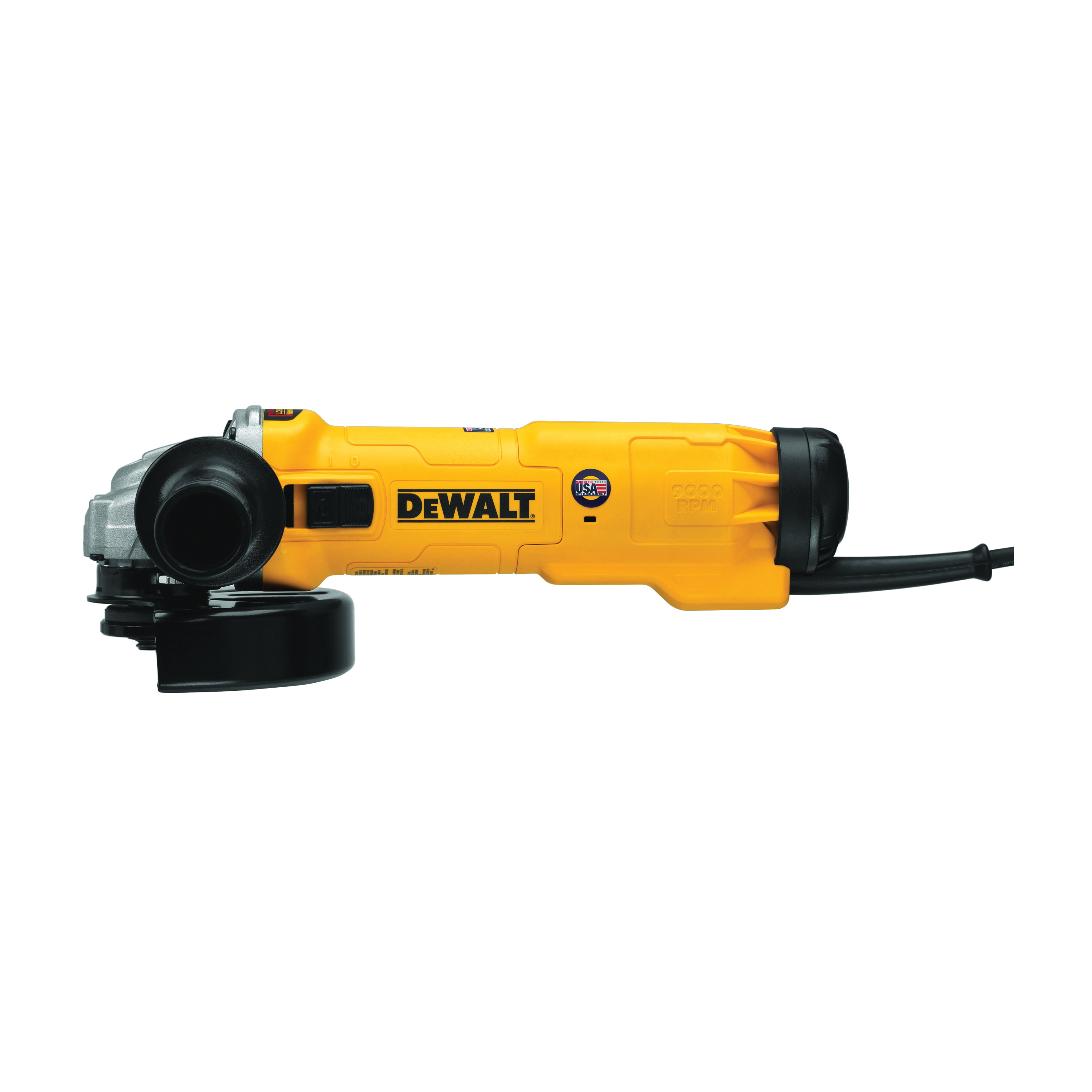 DeWALT® DWE43140 Heavy Duty High Performance Small Angle Grinder, 6 in Dia Wheel, 5/8-11 Arbor/Shank, 120 VAC, Black/Yellow, Yes, Slide Switch