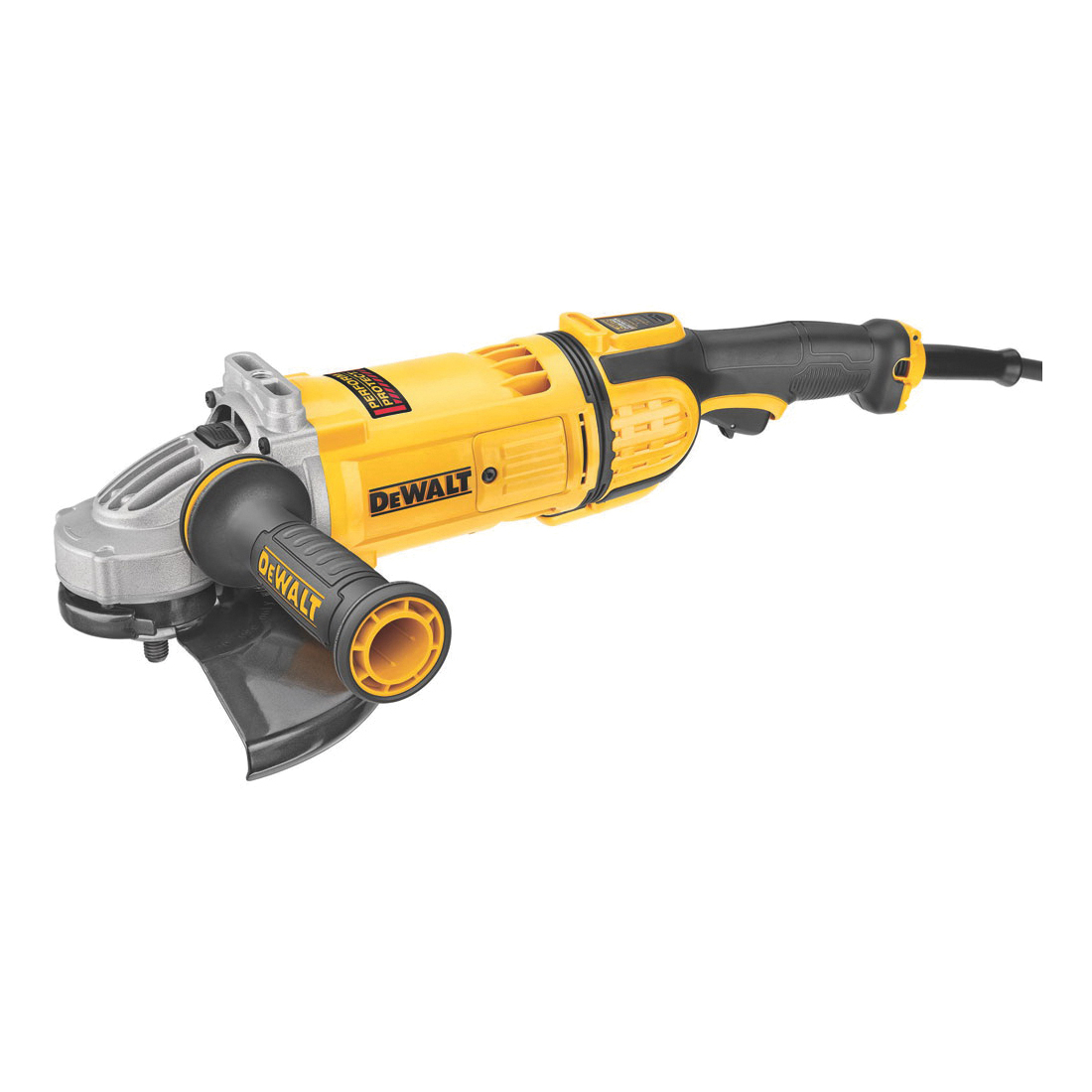 DeWALT® DWE4599N Protect™ Large Angle Grinder, 9 in Dia Wheel, 5/8-11 Arbor/Shank, 120 VAC, Yellow, Yes, Lock-Off Trigger Switch Switch