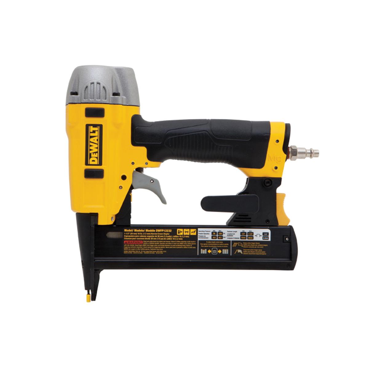 DeWALT® DWFP12232 Narrow Crown Stapler Kit, 1/4 in Crown, 100 Staple, 70 to 120 psi