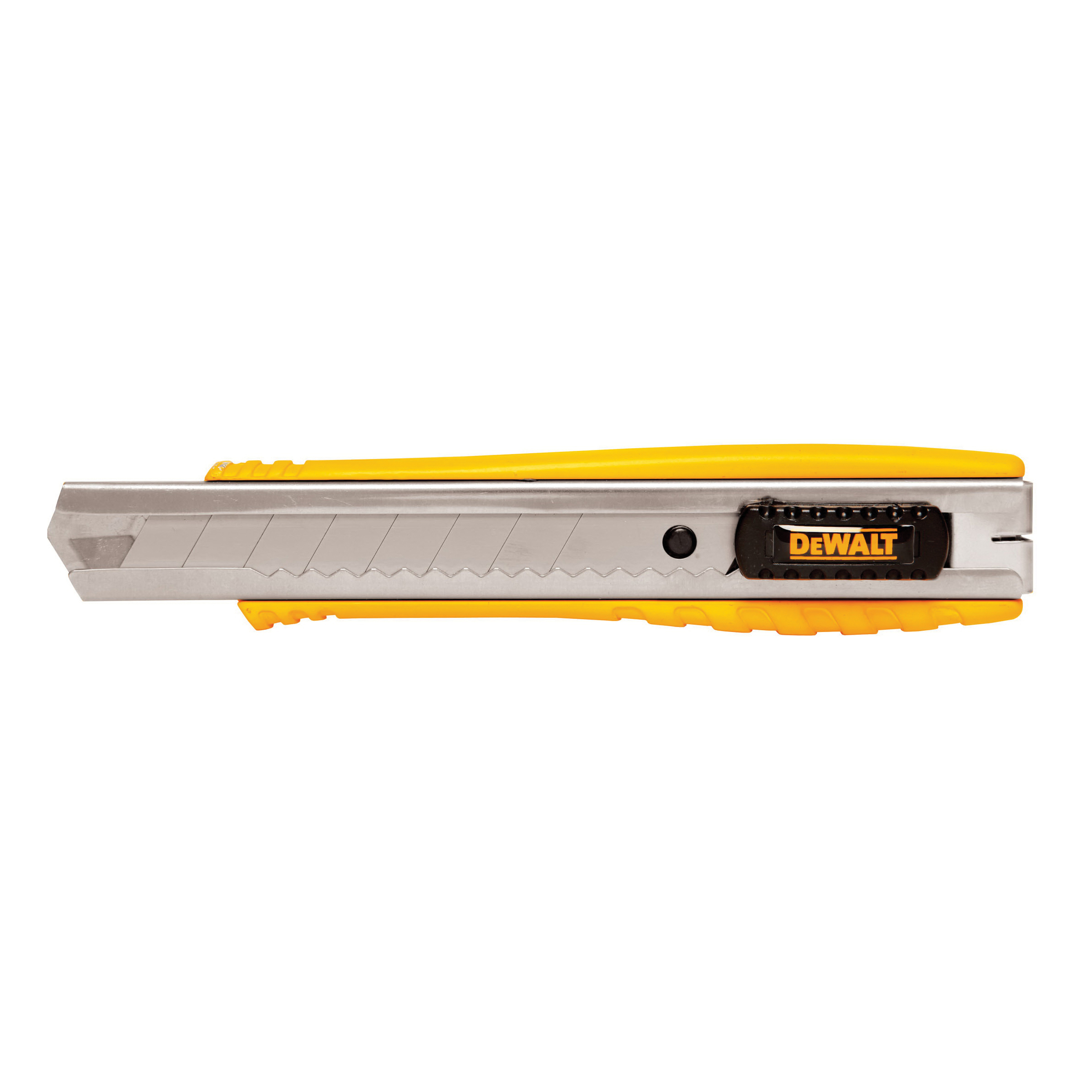 DeWALT® DWHT10038 Standard Utility Knife, 18 mm W Integrated/Snap-Off Blade, Push Button, Carbon Steel Blade, 1 Blade Included, 6-1/4 in OAL