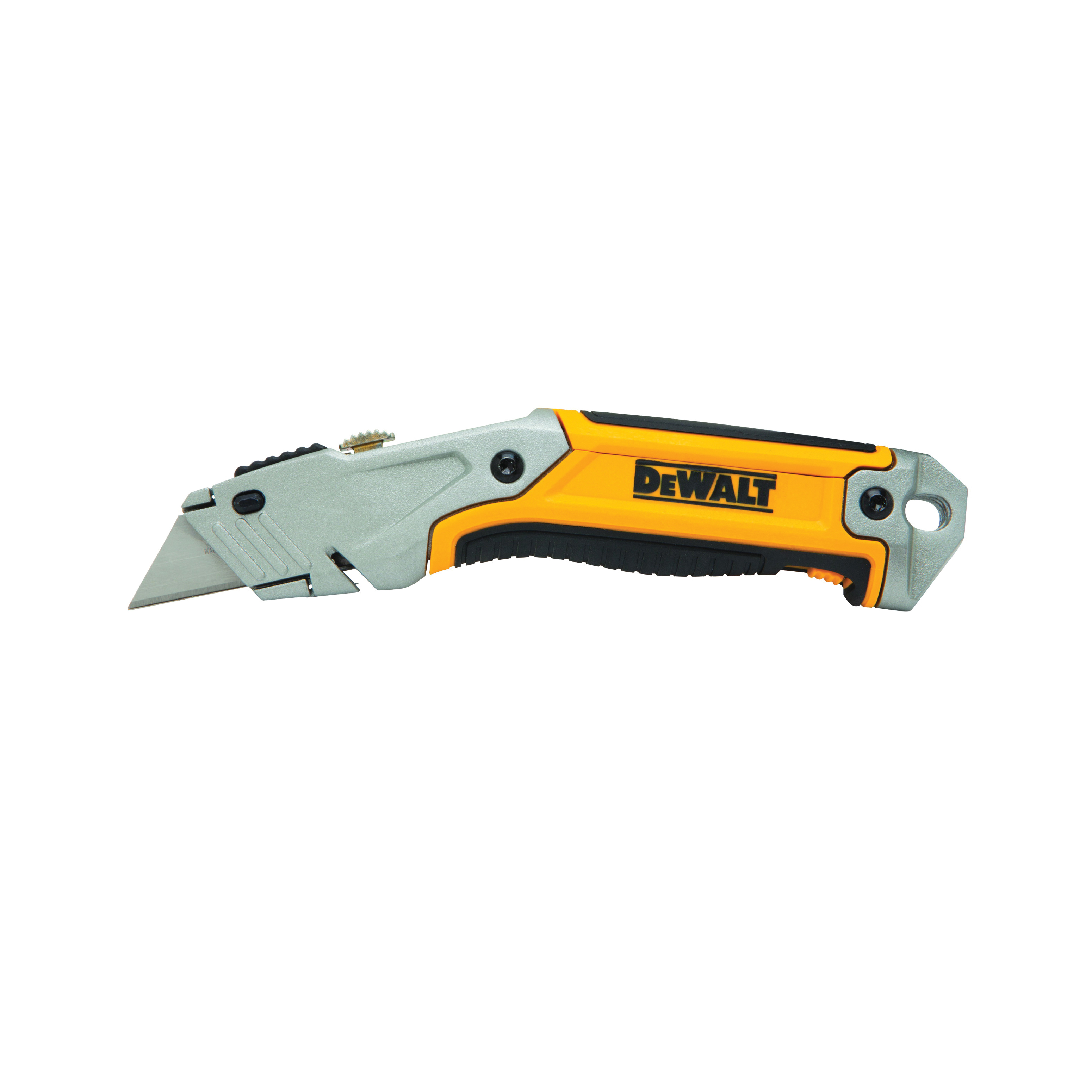 DeWALT® DWHT10046 Utility Knife, Retractable Snap-Off Blade, Quick-Change, Carbon Steel Blade, 3 Blades Included, 6-3/4 in OAL