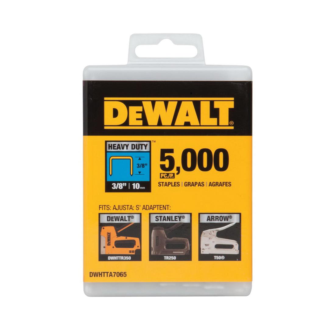 DeWALT® DWHTTA7055 Heavy Duty Narrow Crown Staples, 5/16 in L Leg, 25/64 in W Crown, Steel