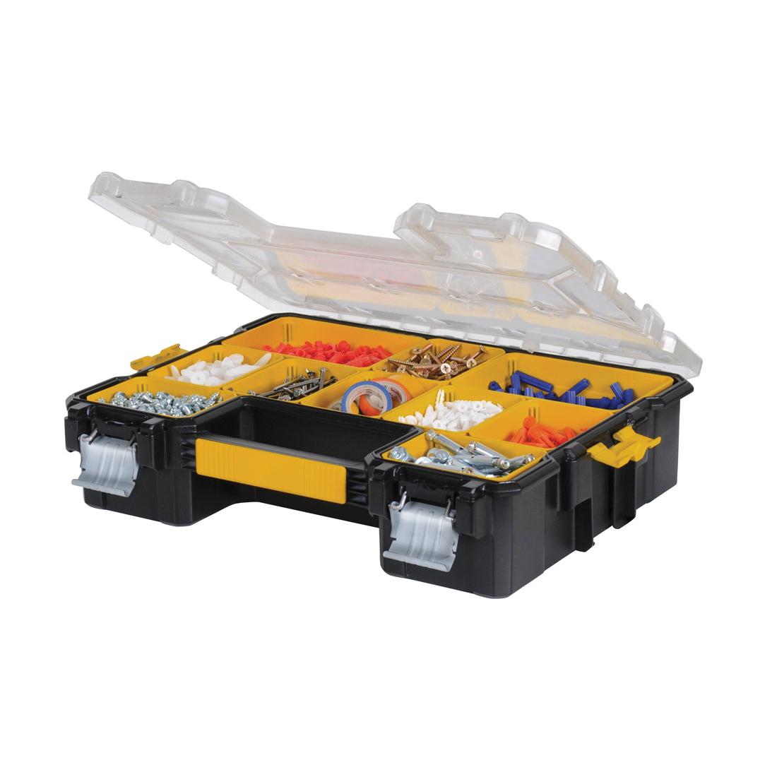 DeWALT® DWST14825 Professional Tool Organizer With Latch, 4-1/2 in H x 14 in W, Metal/Plastic, Black/Clear