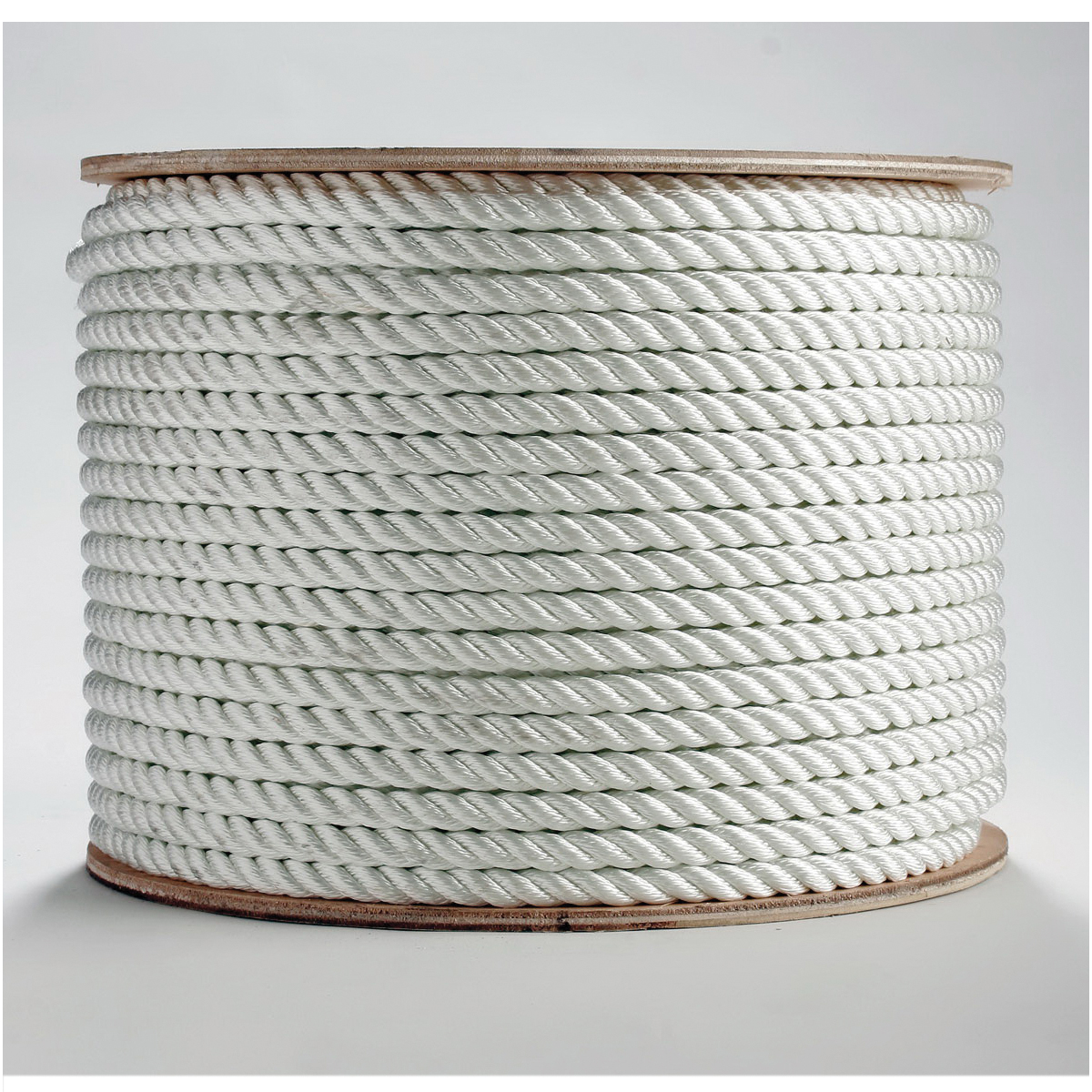Erin Rope TWN120600 3-Strand Twisted Rope, 3/8 in Dia x 600 ft L, White, Nylon