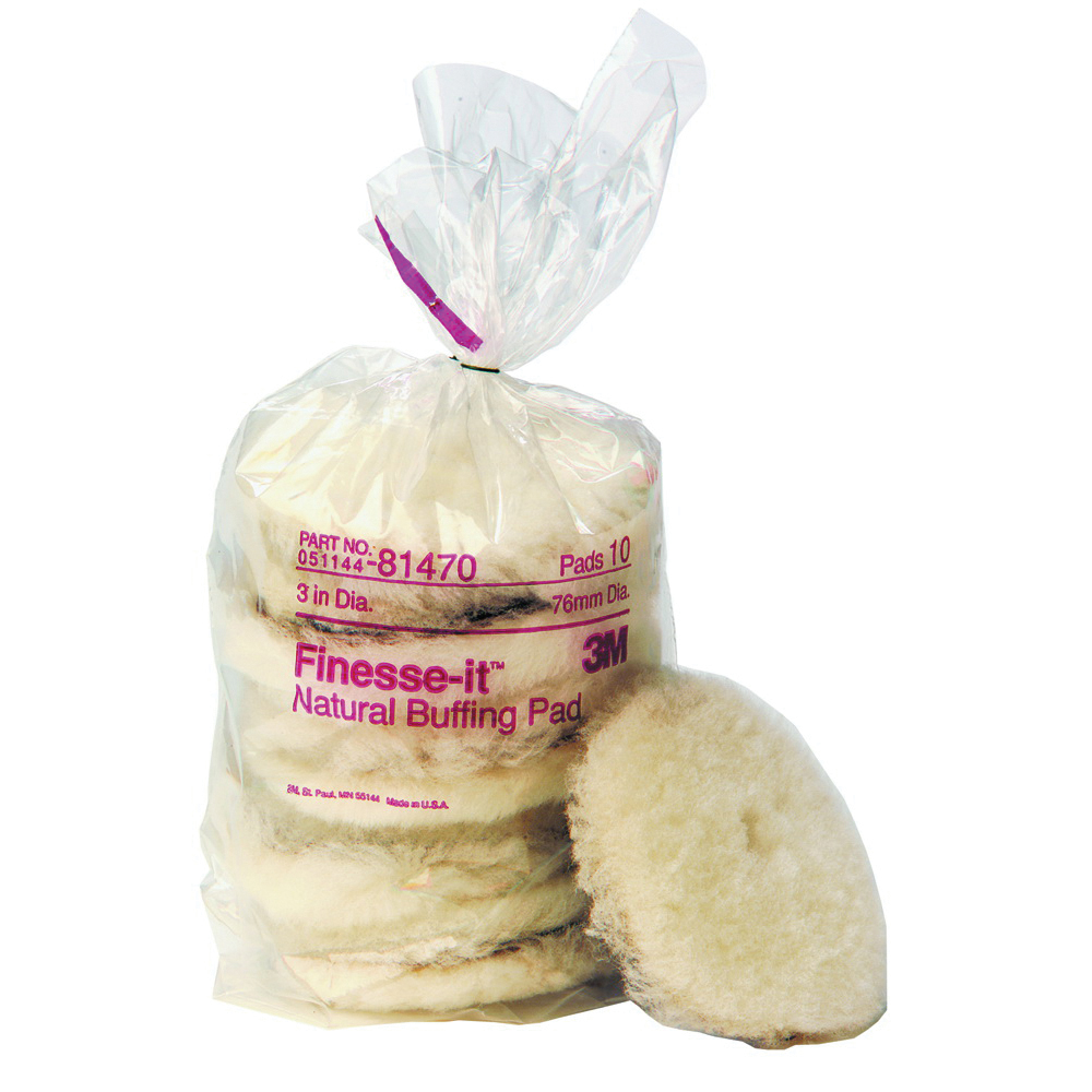 Finesse-it™ 051144-81470 Natural Regular Buffing Pad, 3 in Dia, Hook and Loop Attachment, Wool Pad