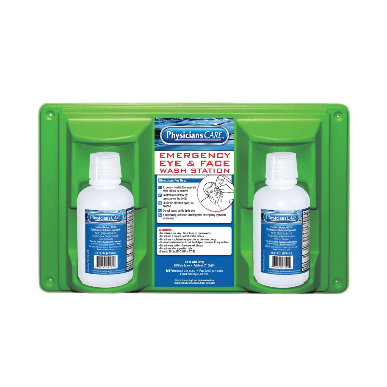 First Aid Only® 24-102 Double Bottle Eyewash Station, Wall Mounting