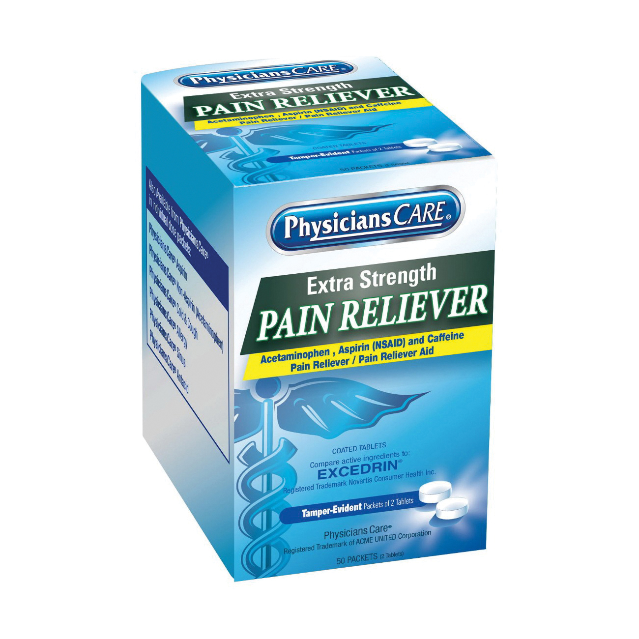 First Aid Only® 90316 Extra Strength Pain Reliever, 100 Count, Box Package, Formula: 250 mg Acetaminophen/250 mg Aspirin and 65 mg Caffeine