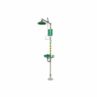 Haws® AXION® 8320-8325 MSR Combination Emergency Shower and Eye/Face Wash, ABS Eyewash Bowl, ABS Shower Head, Floor Mount, Pull Rod Handle Operation, ANSI Z358.1-2009, cCSAus Certified